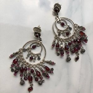 Jewelry - Garnet handmade chandelier earrings